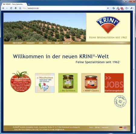 Bildschirmfoto der Website www.krini.de