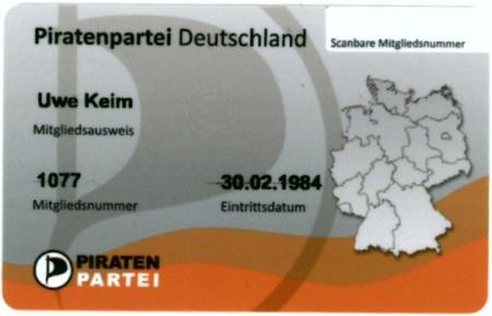 Gescannter Mitgliedsausweis