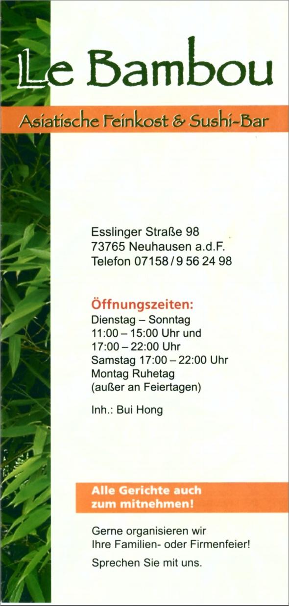 Speisekarte Le Bambou in Neuhausen auf den Fildern, Seite 1