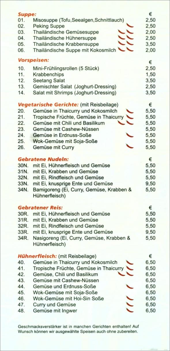Speisekarte Le Bambou in Neuhausen auf den Fildern, Seite 2