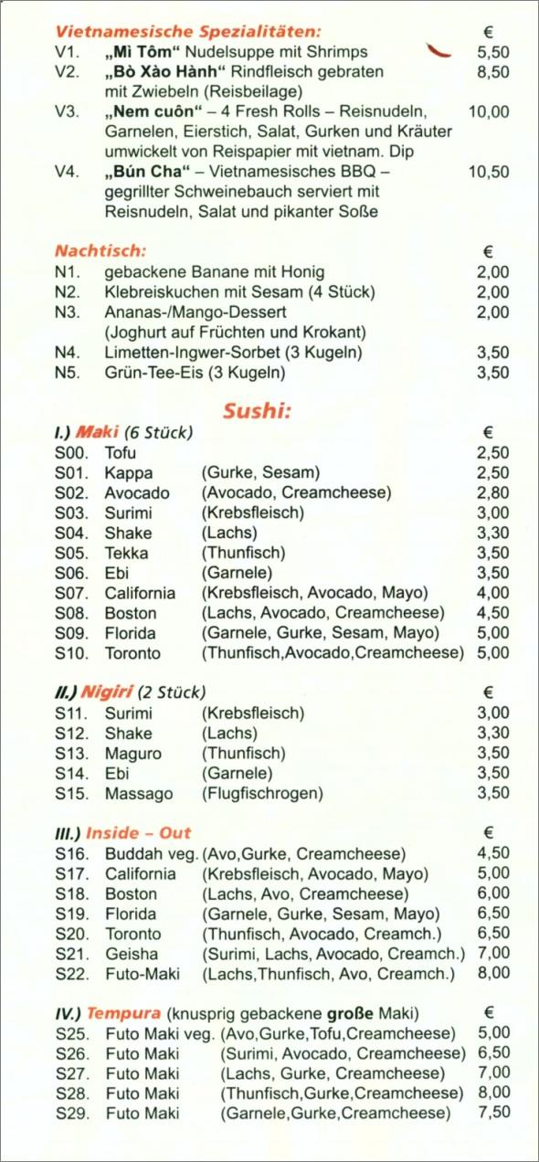 Speisekarte Le Bambou in Neuhausen auf den Fildern, Seite 5