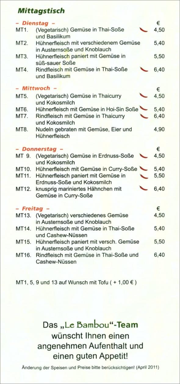 Speisekarte Le Bambou in Neuhausen auf den Fildern, Seite 6