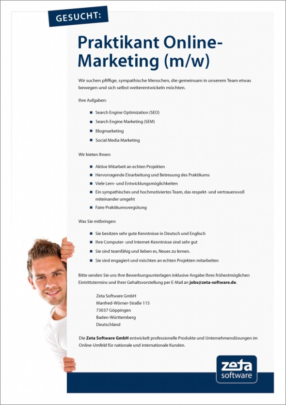 Stellenangebot Pratikant Online-Marketing in Göppingen bei Stuttgart