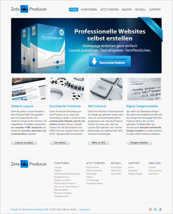 Website erstellen mit Zeta Producer Desktop CMS