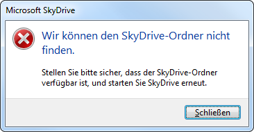 Fehlermeldung Microsoft SkyDrive - Wir können den SkyDrive-Ordner nicht finden