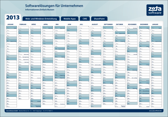Jahreskalender 2013 Download