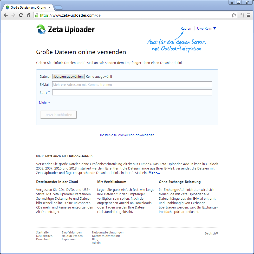 Zeta-Uploader, mit Handschrift