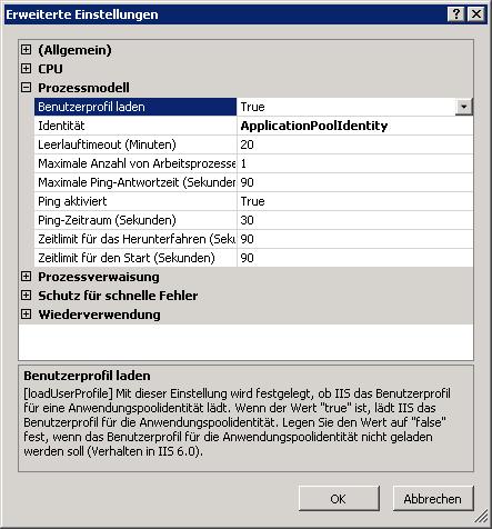 IIS App Pool - Benutzerprofil laden