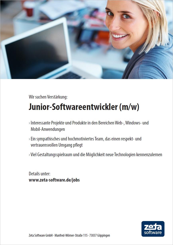 Stellenangebot - Junior-Softwareentwickler in Göppingen