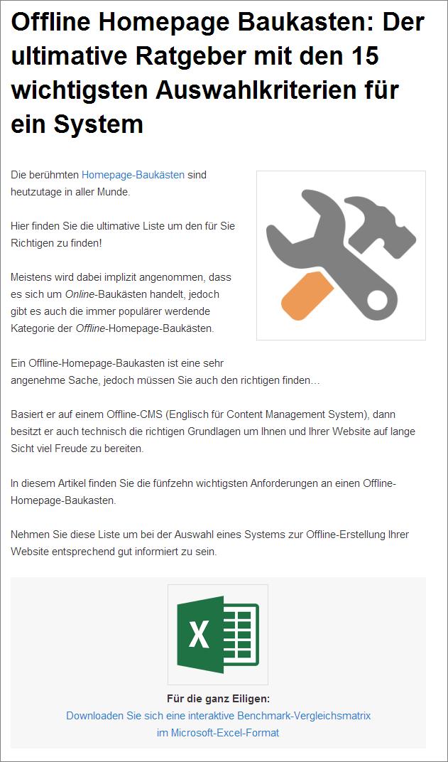 Auswahl eines Offline-Homepage-Baukasten