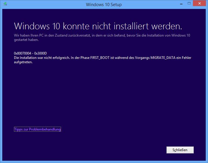 Windows 10 - Upgrade schlägt fehl