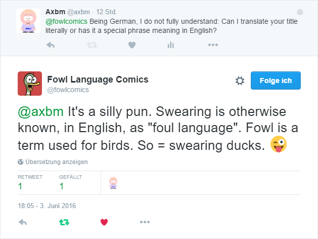 Fowl Language auf Twitter